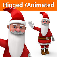 cartoon santa rigged animated