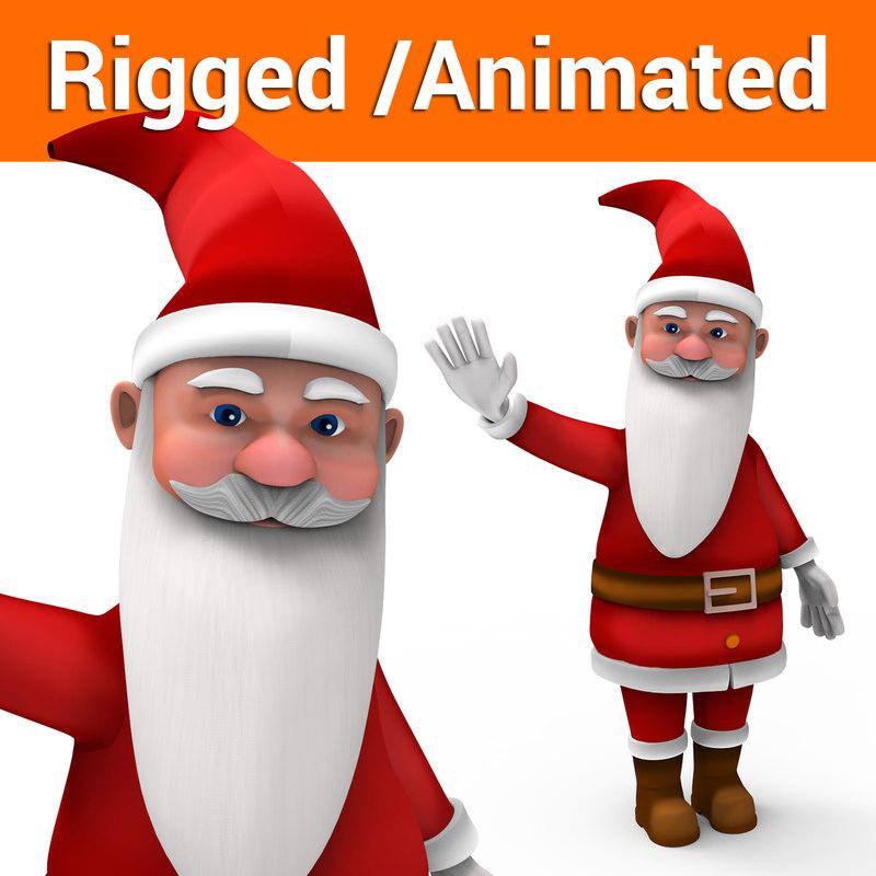 santa rigged animation 3D model