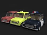 Cartoon Toy Police Car & Taxi