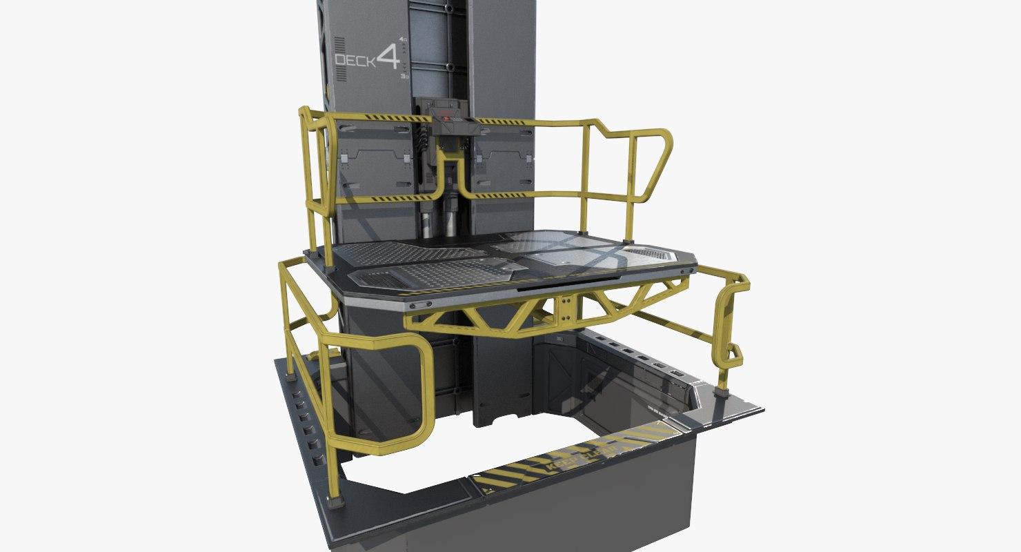 sci-fi modular elevator 3D model