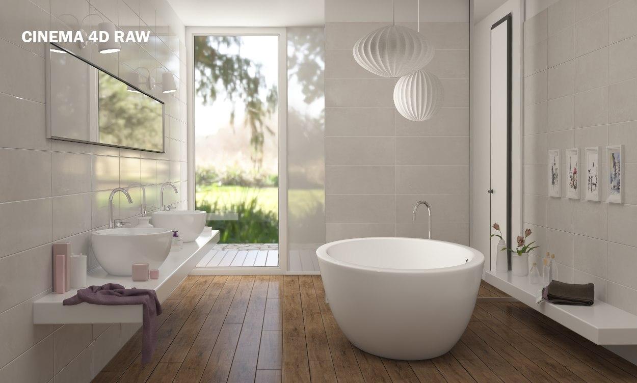 ... 3D scene modern bathroom interior ...