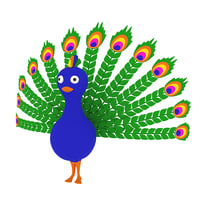 3D cartoon peacock model