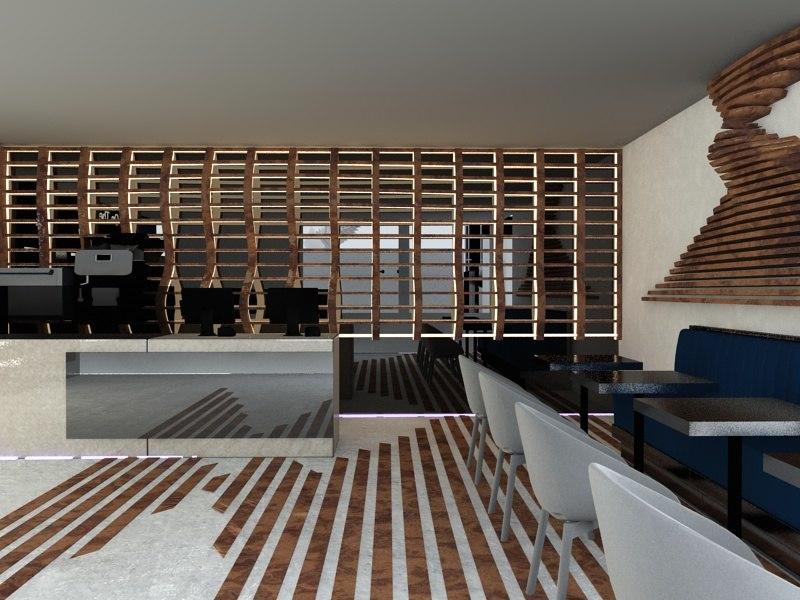 cafe interior scene 3D model