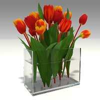 bouquet tulips glass vase model
