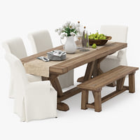 3D model pottery barn dining table