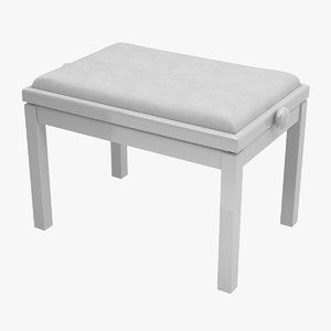 3D white piano bench model