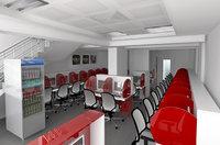 internet cafe 3D model