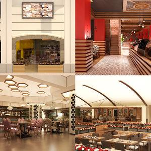 cafe set interior 3D model