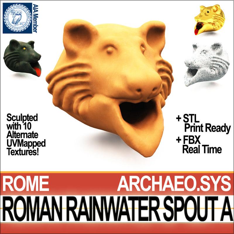 3D roman rainwater spout