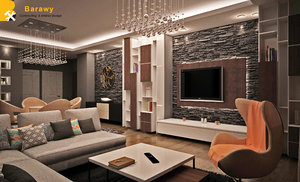 3D contemporary living dinning room