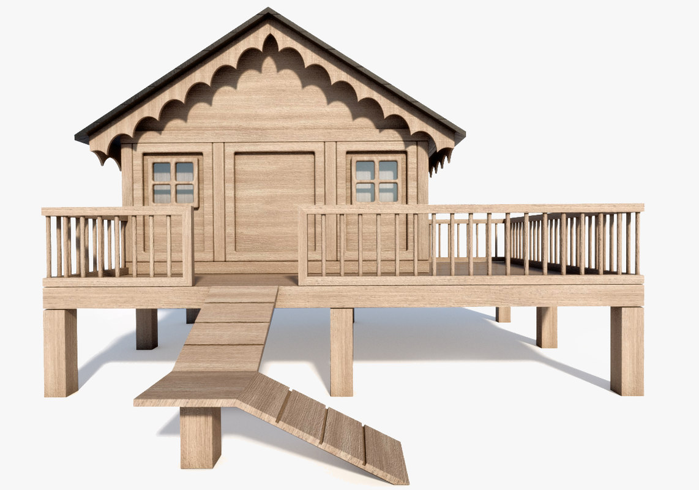 hut animal wooden 3D model