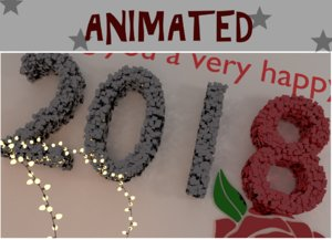 new year text animates 3D