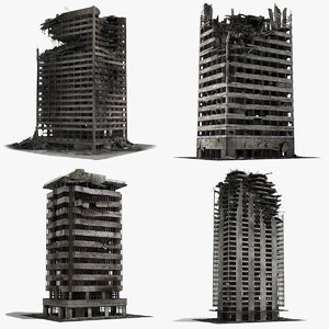 3D destroyed ruined buildings