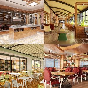 cafe set interior 3D