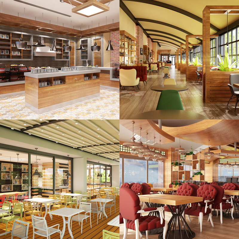 cafe set interior 3D