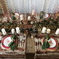 Merry Christmas table Pottery Barn serving