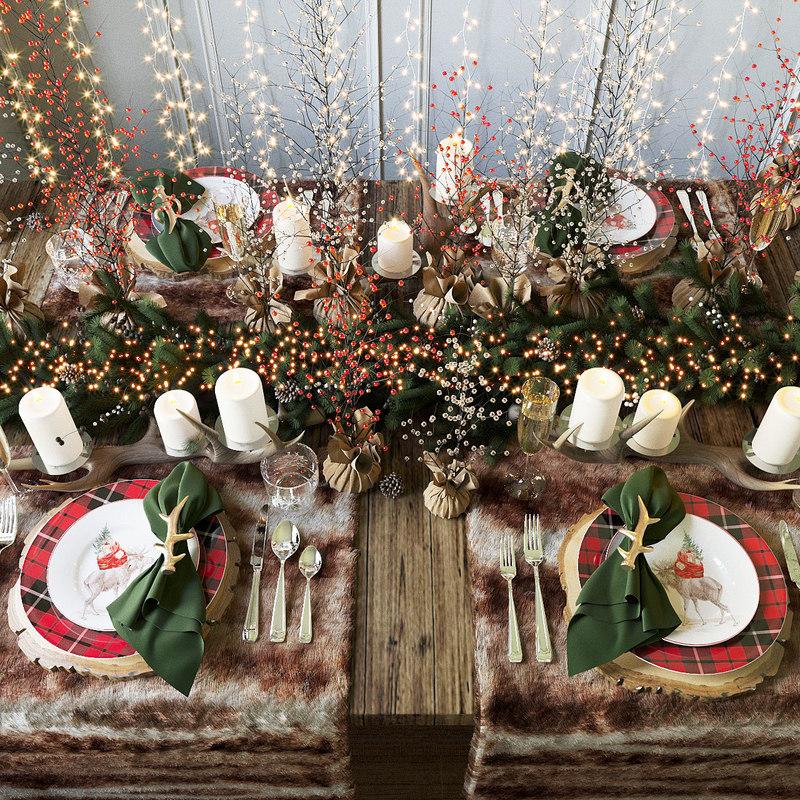 merry christmas table pottery barn 3D model