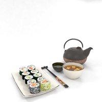 3D model sushi sashimi dragon