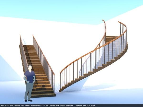 3D wood glass stairs floor model