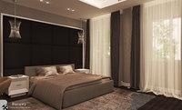 3D contemporary master bedroom model