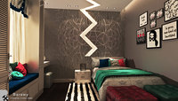contemporary girl bedroom 3D