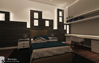 3D model modern boys bedroom