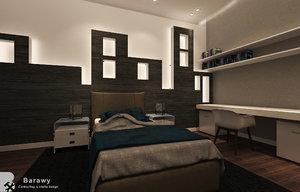 3D model modern boys bedroom