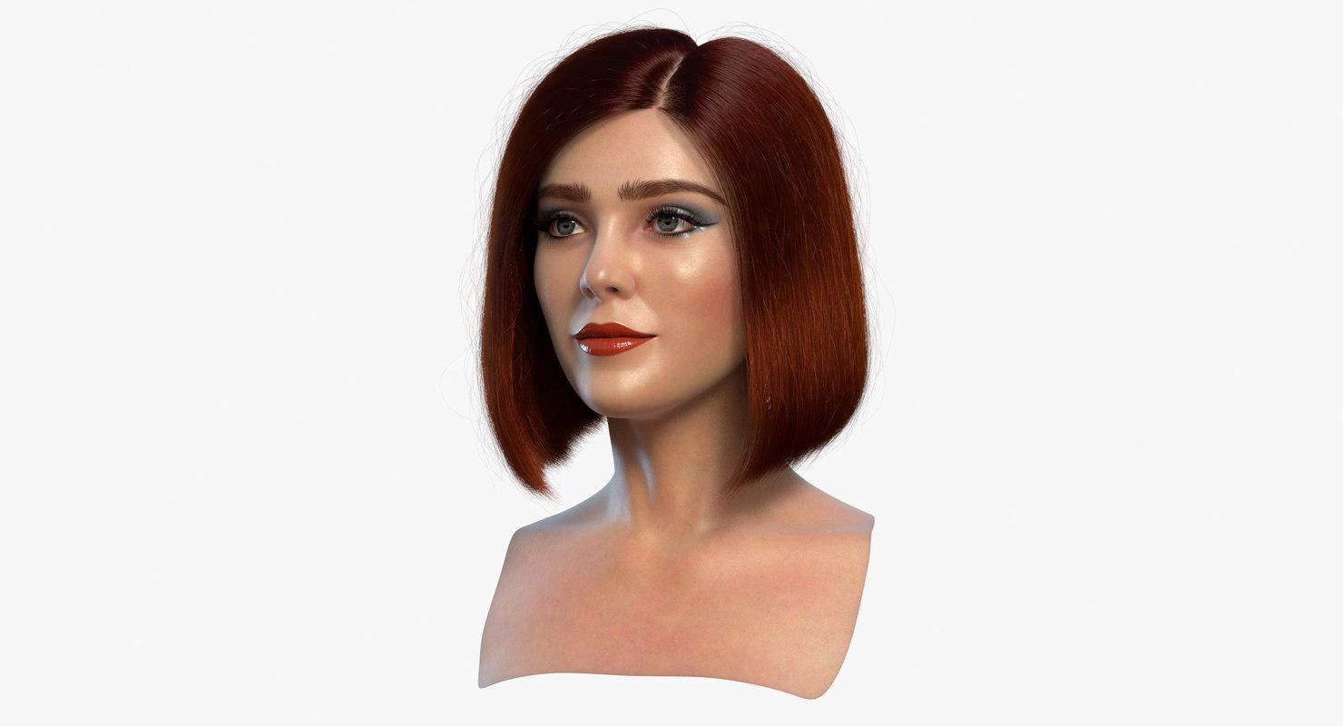 3D female head 3 blends model