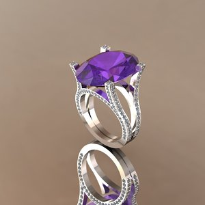 3D ring amethyst