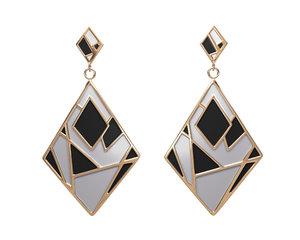 gold enamel earrings 3D model