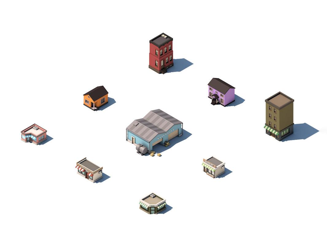 set city street buildings 3D