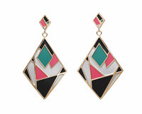 colorful gold enamel earrings 3D model