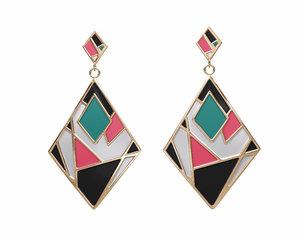colorful gold enamel earrings 3D model
