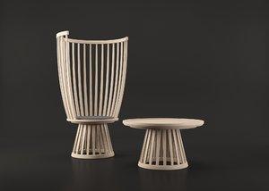 3D garden chair table