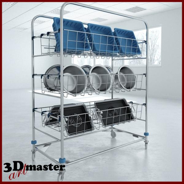 3D sterile processing wash cart