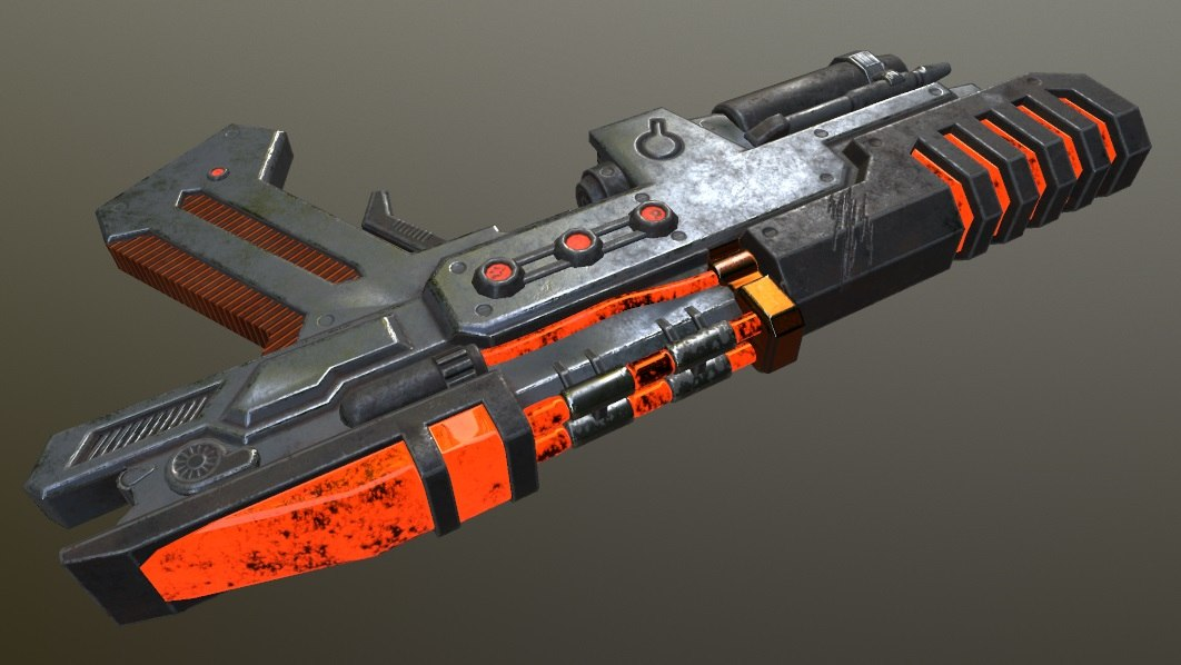 3D sci-fi gun model