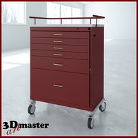 3D model emergency cart tall drawer