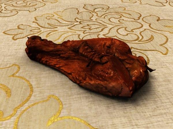 smoked leg turkey 3D model