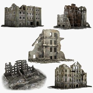 destroyed ruined buildings model
