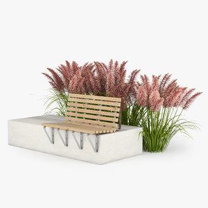 3D bench grass