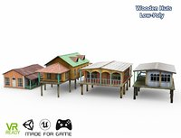 optimized hut wooden water 3D model