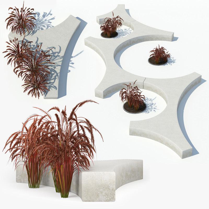 3D model bench grass