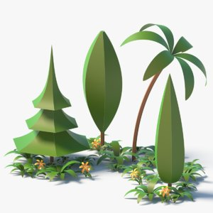 3D cartoon trees flower plant