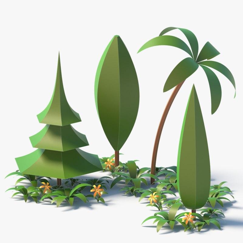 3D cartoon trees flower plant