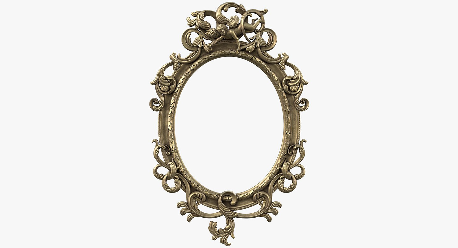 antique oval mirror frame. Baroque Mirror Frame 3D Model Antique Oval O
