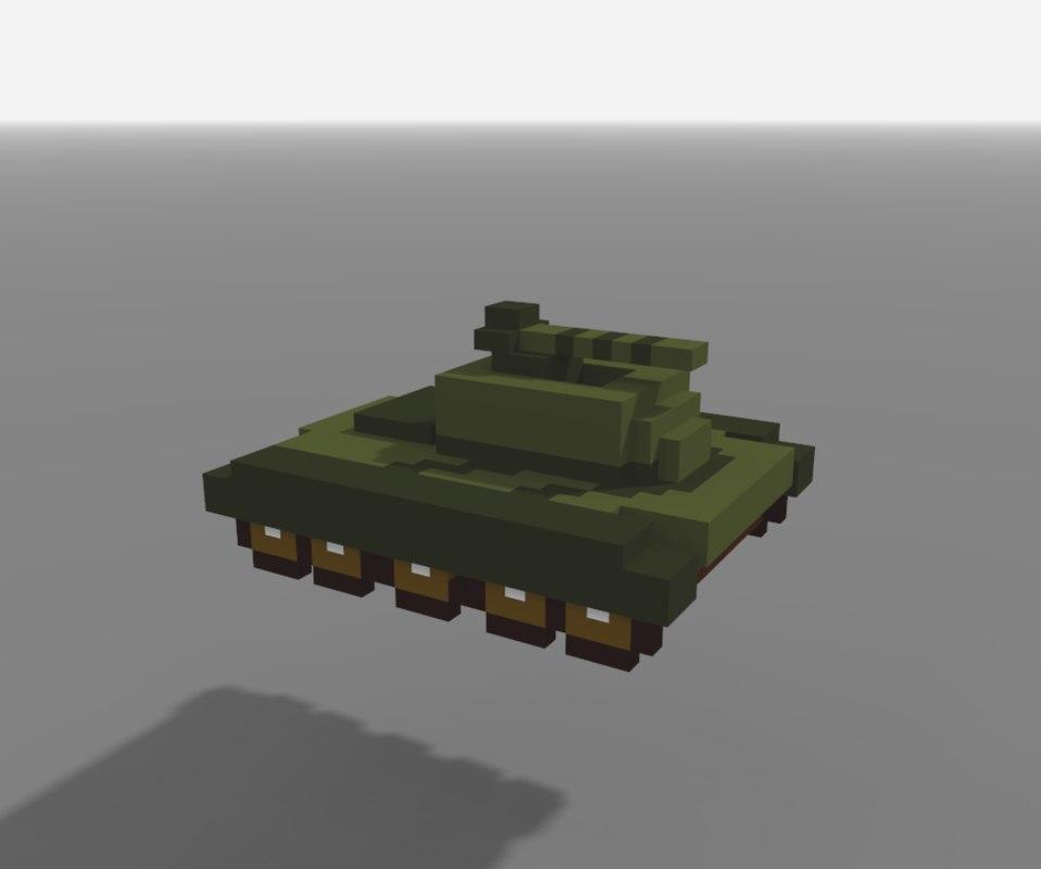 military tank voxel art 3D model