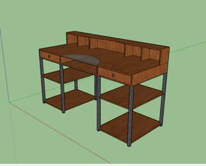 3D metal office desk