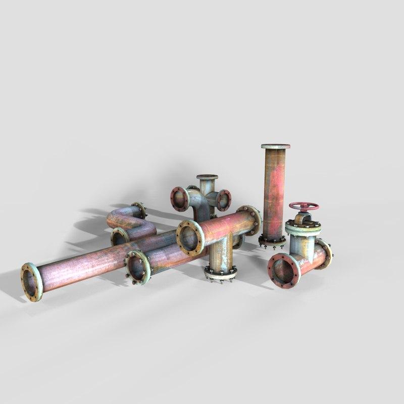 3D industrial pipe 2 model