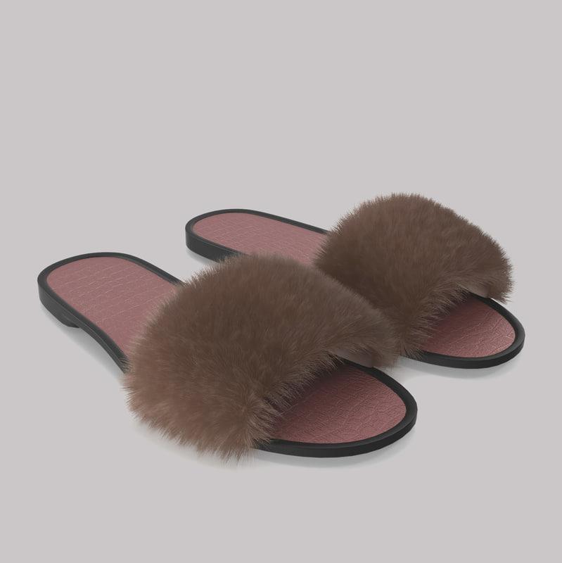 3D shoes fur