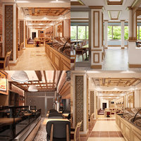 restaurant set interior 3D